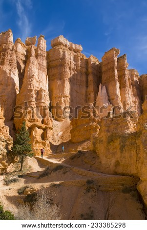 Family climbs the steep trail. National Park Bryce Canyon - stock photo
