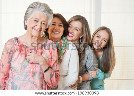 Family comes first: 4 generations - stock photo