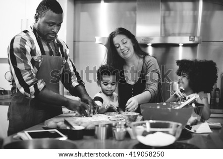 Family Cooking Kitchen Food Togetherness Concept - stock photo