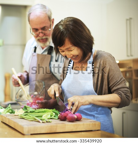 Family Cooking Kitchen Preparation Dinner Concept - stock photo