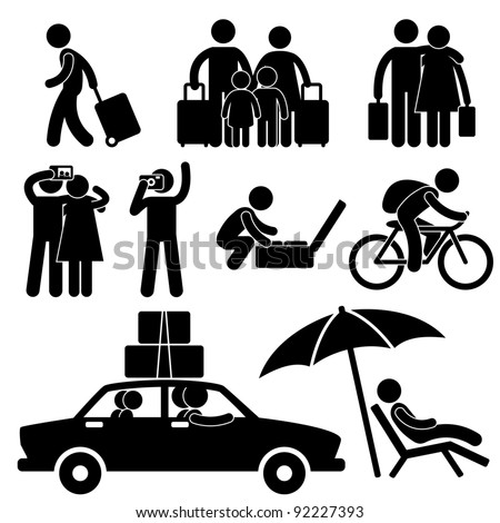 Family Couple Tourist Travel Vacation Trip Holiday Honeymoon Icon Symbol Sign Pictogram