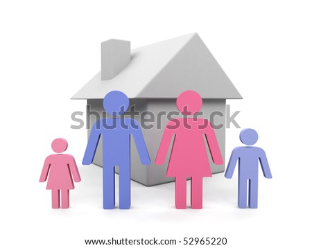 Family. 3d image isolated on white background. - stock photo