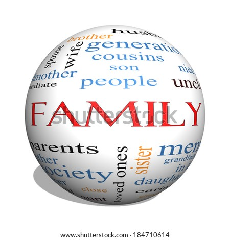 Family 3D sphere Word Cloud Concept with great terms such as loving, parents, home and more.