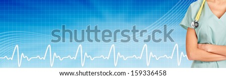 Family doctor woman with stethoscope. Healthcare banner. - stock photo