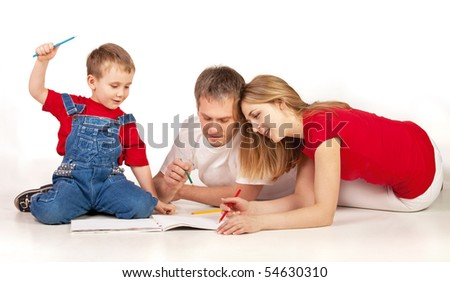 Family drawing on the floor on white background - stock photo