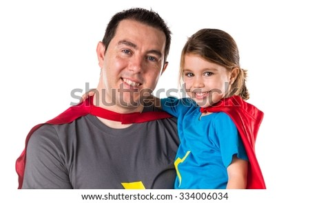 Family dressed like superhero - stock photo