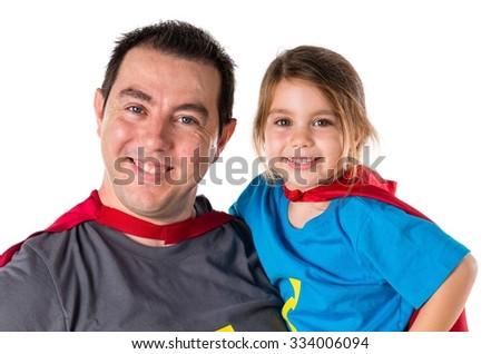 Family dressed like superhero - stock photo