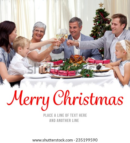 Family drinking a toast in a Christmas dinner against merry christmas - stock photo