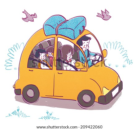 Family driving to vacation - stock photo
