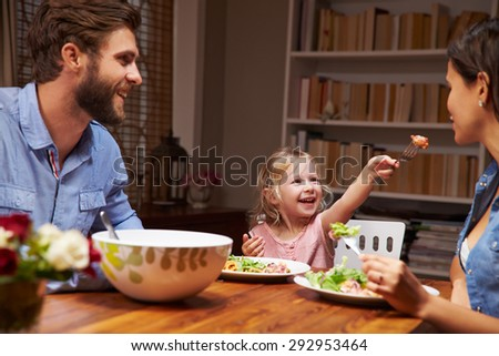 Family eating an dinner at a dining table - stock photo