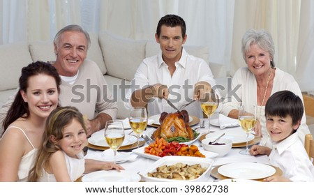 Family eating turkey and vegetables in a celebration meal at home - stock photo