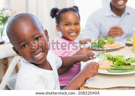 Family enjoying a healthy meal together with son smiling at camera at home in the kitchen - stock photo