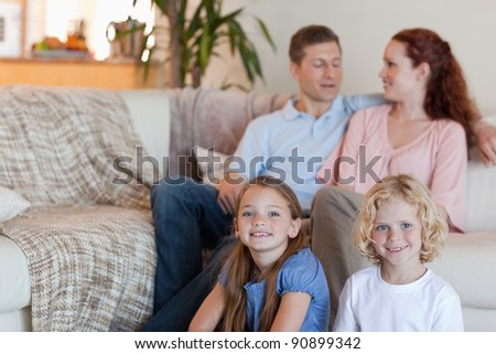 Family enjoying their time together in the living room