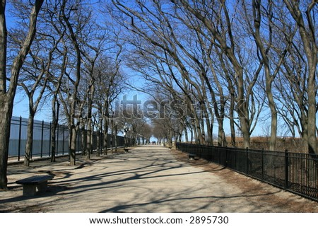 Family enjoys the tree-line walk in Chicago - stock photo