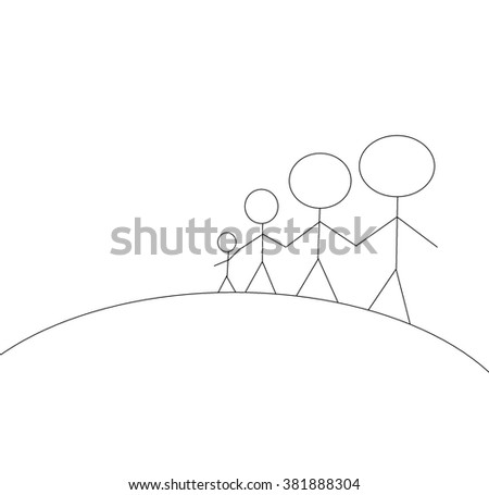 Family father mother and two kids outdoors on the large hill