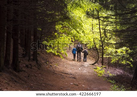 Family, father with two children hiking through a forest, back view