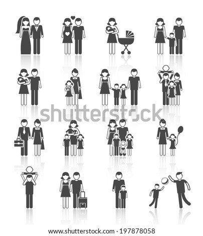 Family figures icons set of parents children couple isolated  illustration - stock photo