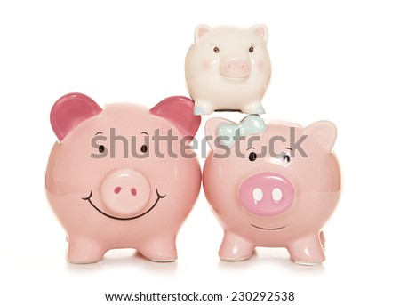 family finance piggy banks cutout - stock photo
