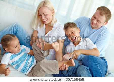 Family fooling at home - stock photo
