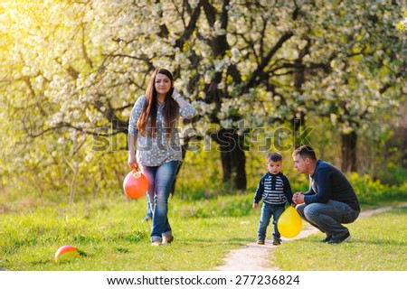 family fun outdoors - stock photo