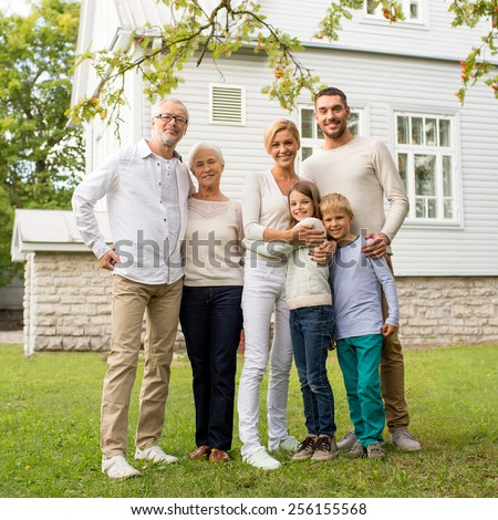 happy family in front of house stock images royalty free images vectors shutterstock. Black Bedroom Furniture Sets. Home Design Ideas