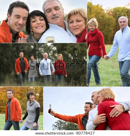 Family having a walk in the countryside - stock photo