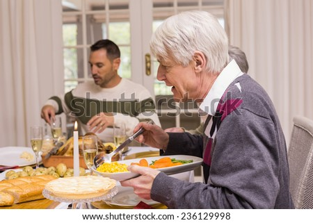 Family having christmas dinner together at home in the living room - stock photo