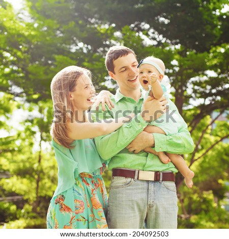 Family having fun on a sunny day