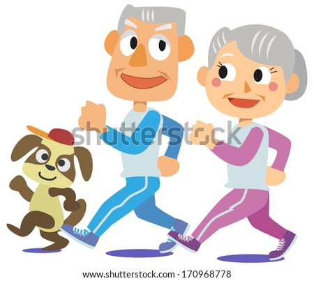 Family - Healthy old couple - stock photo