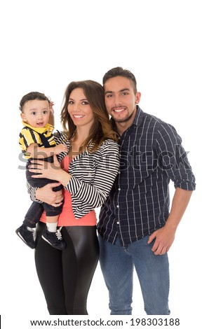 family hispanic mother father baby on a white background - stock photo
