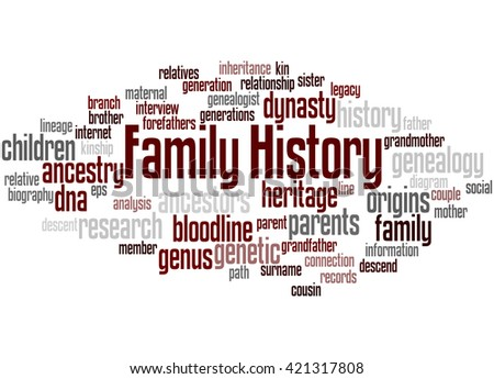 Family History, word cloud concept on white background. - stock photo