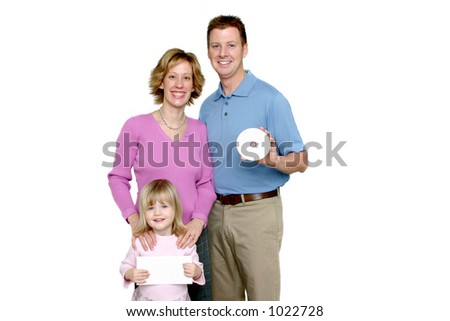 Family Holding Blank CD and card - stock photo