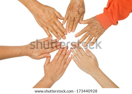 Family holding hands together,concept The bond between family