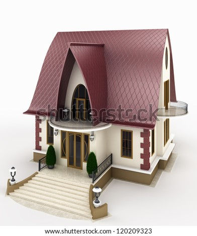 Family house model with a view of the entrance. Isolated on white background