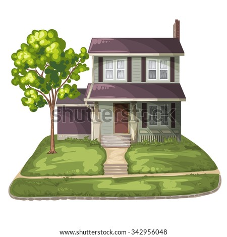 Family House on Suburban Residential Estate - stock photo