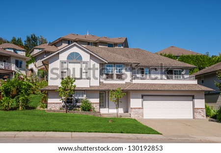 Family House Big Garage Trees Front Stock Photo (Safe to Use ... on cars with garages, big 1 story homes, big old houses, big garage homes, big inside of garage, big house with cars, boats with garages, big mansion bedrooms, mansions with garages, big old garages, big brick house, big houses for cheap prices, big nice house inside, big houses on islands, big house with yard, big houses beautiful houses, big narco houses, million dollar garages, house plans with large garages, inside of house garages,