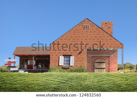 family house with large garage door