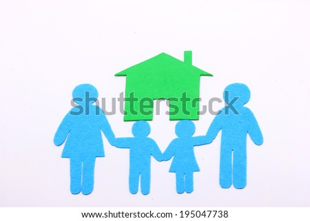 family icon and green house - stock photo