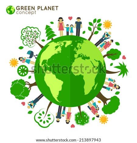 Family icons around the globe green planet ecology concept  illustration