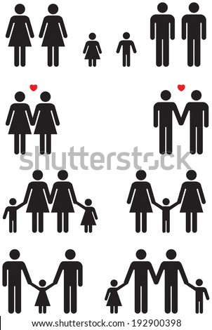 Family icons of same sex couples in black and white graphic style.  - stock photo