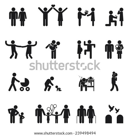 family icons. Set of  Love and family life black and white - stock photo