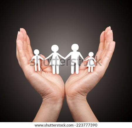 Family in palm concept - stock photo