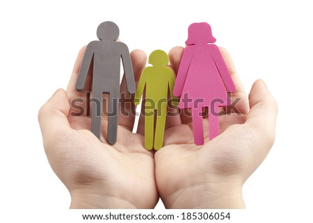 Family in Palm Concept - Protection - stock photo