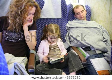 family in plane - stock photo