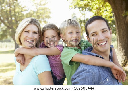 Family in the country - stock photo
