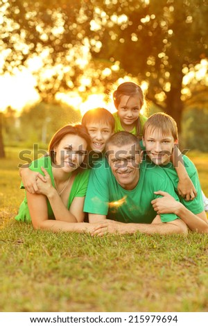 Family in the green jersey is resting in a summer park - stock photo