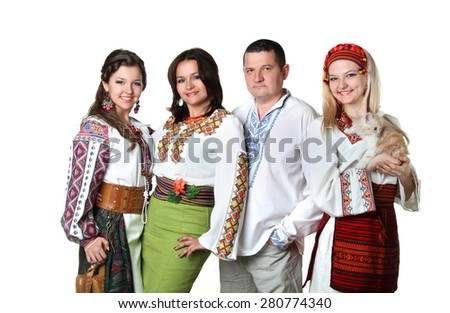 family in the Ukrainian  clothes. national traditions. vivid emotions - stock photo
