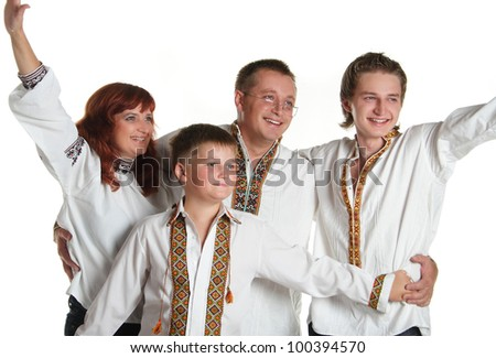 family in the Ukrainian national costumes