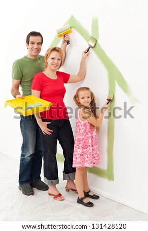 Family in their new house - making it a cozy home together concept