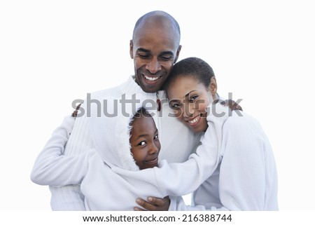 Family in white clothing embracing, smiling, close-up, portrait, cut out